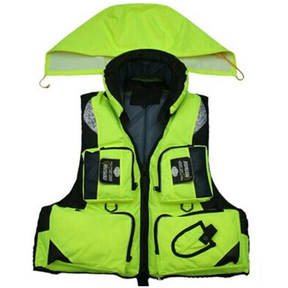 Adjustable Adult Safety Life Jacket Survival Vest for Swimming Boating Fishing  Fluorescent green_XL