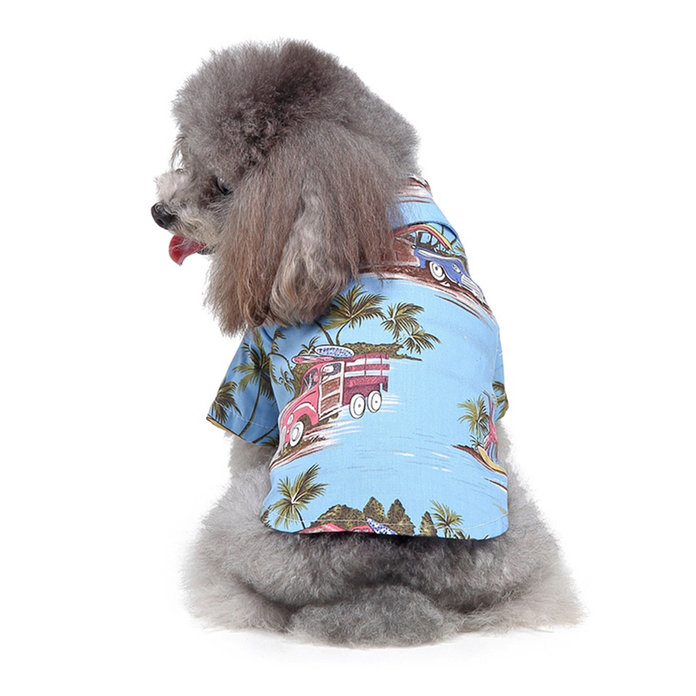 Pet Dog Shirts Clothes Summer Beach Shirt Vest Hawaiian Travel Blouse blue_M
