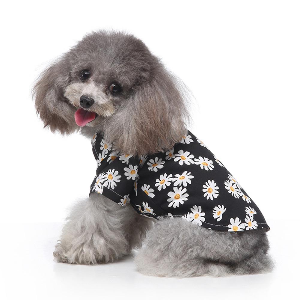 Summer Flower Print Beach Shirt Dog Cat Casual Pet Travel Blouse  black_XL