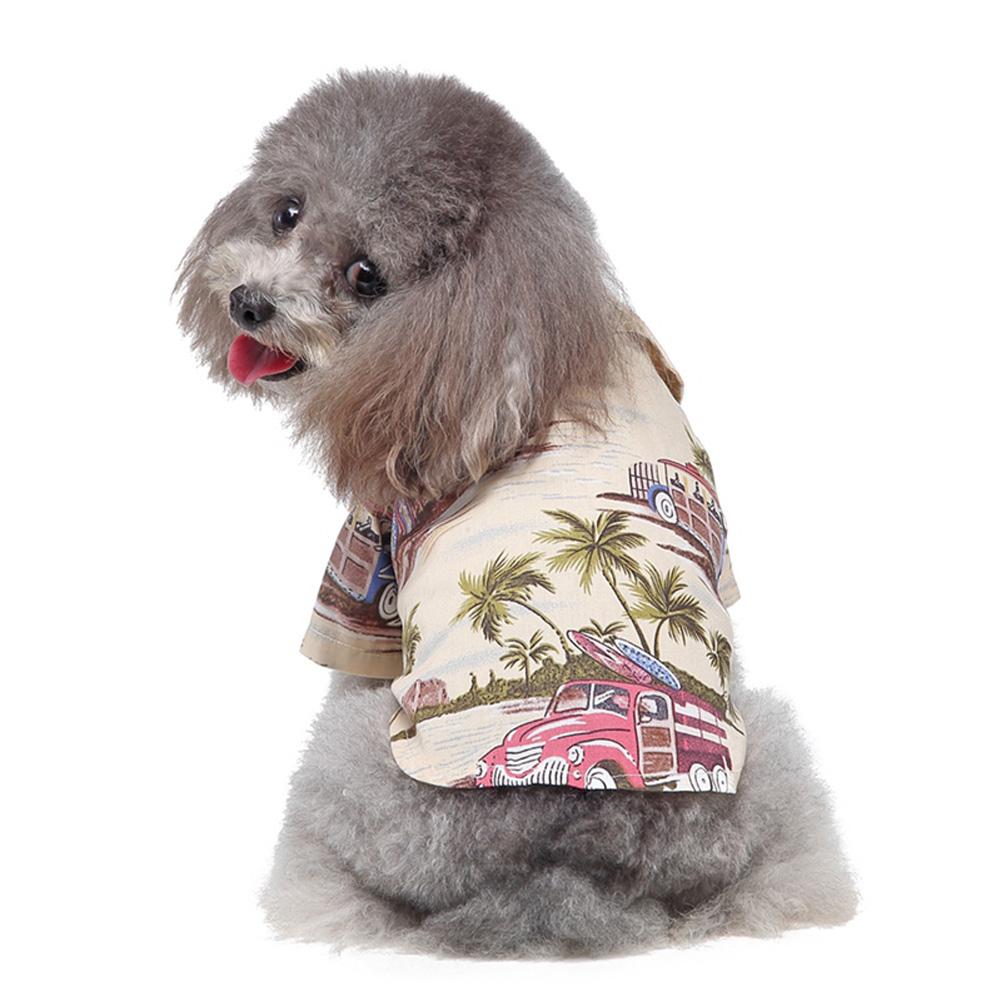Pet Dog Shirts Clothes Summer Beach Shirt Vest Hawaiian Travel Blouse Beige_M