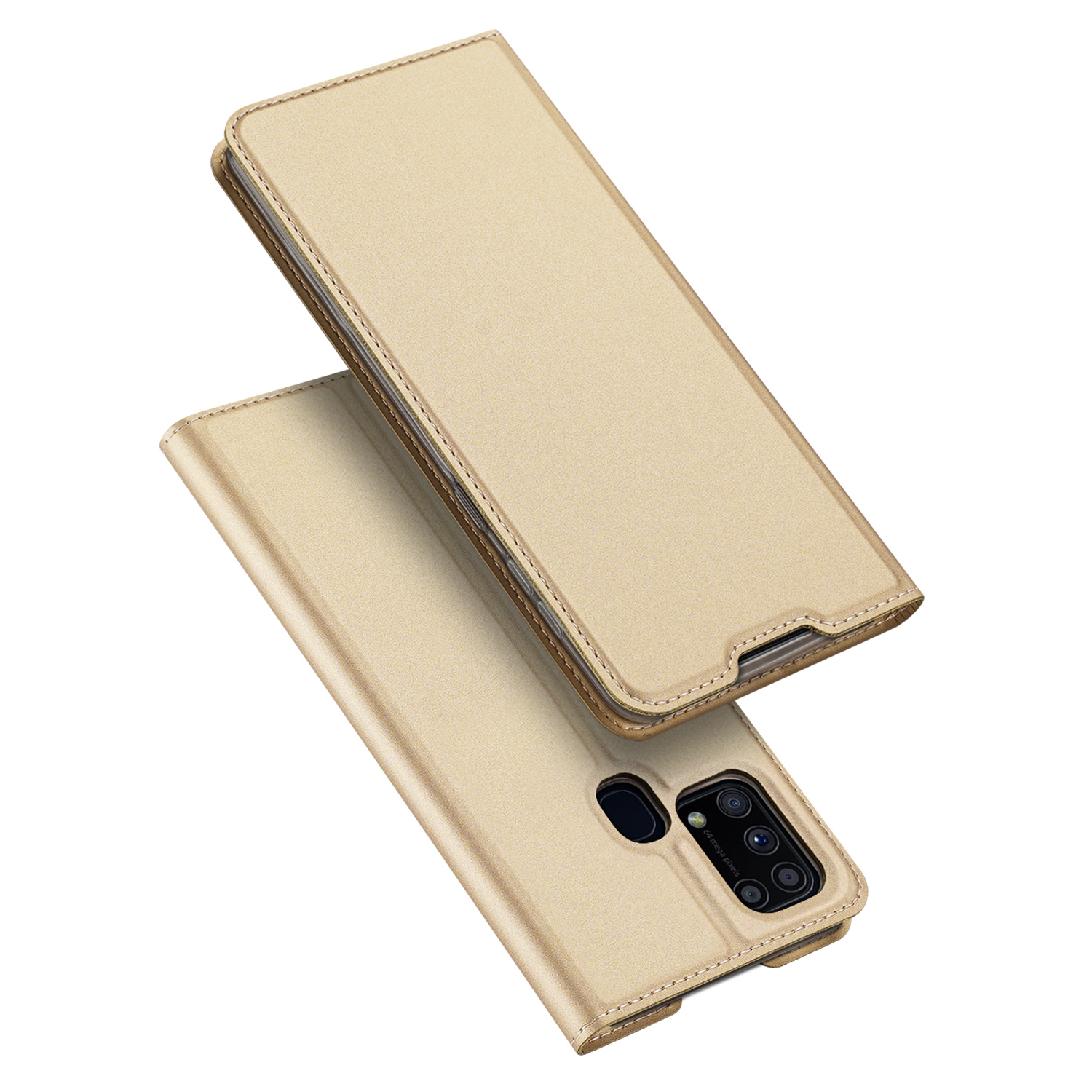 DUX DUCIS For Samsung M31 Leather Mobile Phone Cover Magnetic Protective Case Bracket with Cards Slot Golden