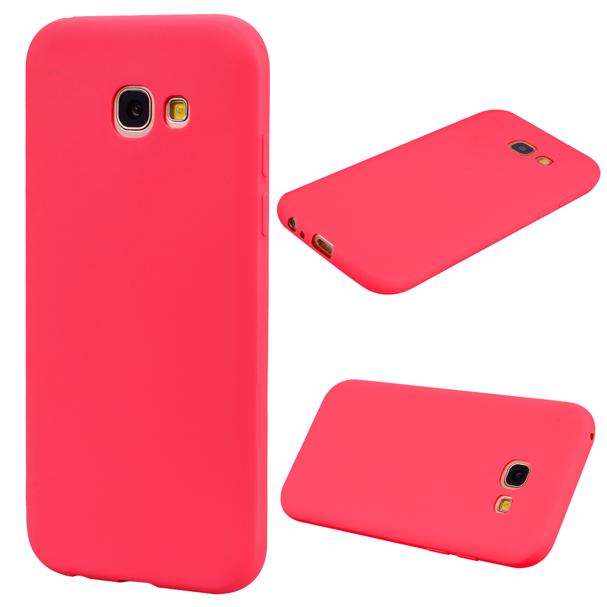 for Samsung A5 2017 Cute Candy Color Matte TPU Anti-scratch Non-slip Protective Cover Back Case red