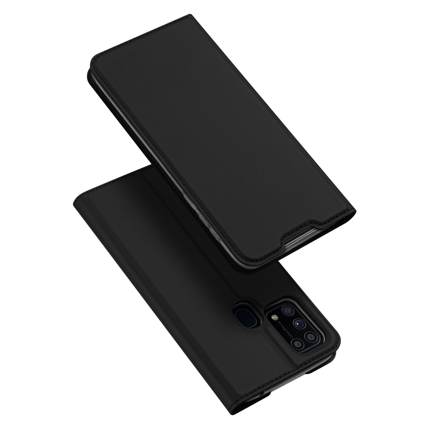 DUX DUCIS For Samsung M31 Leather Mobile Phone Cover Magnetic Protective Case Bracket with Cards Slot black