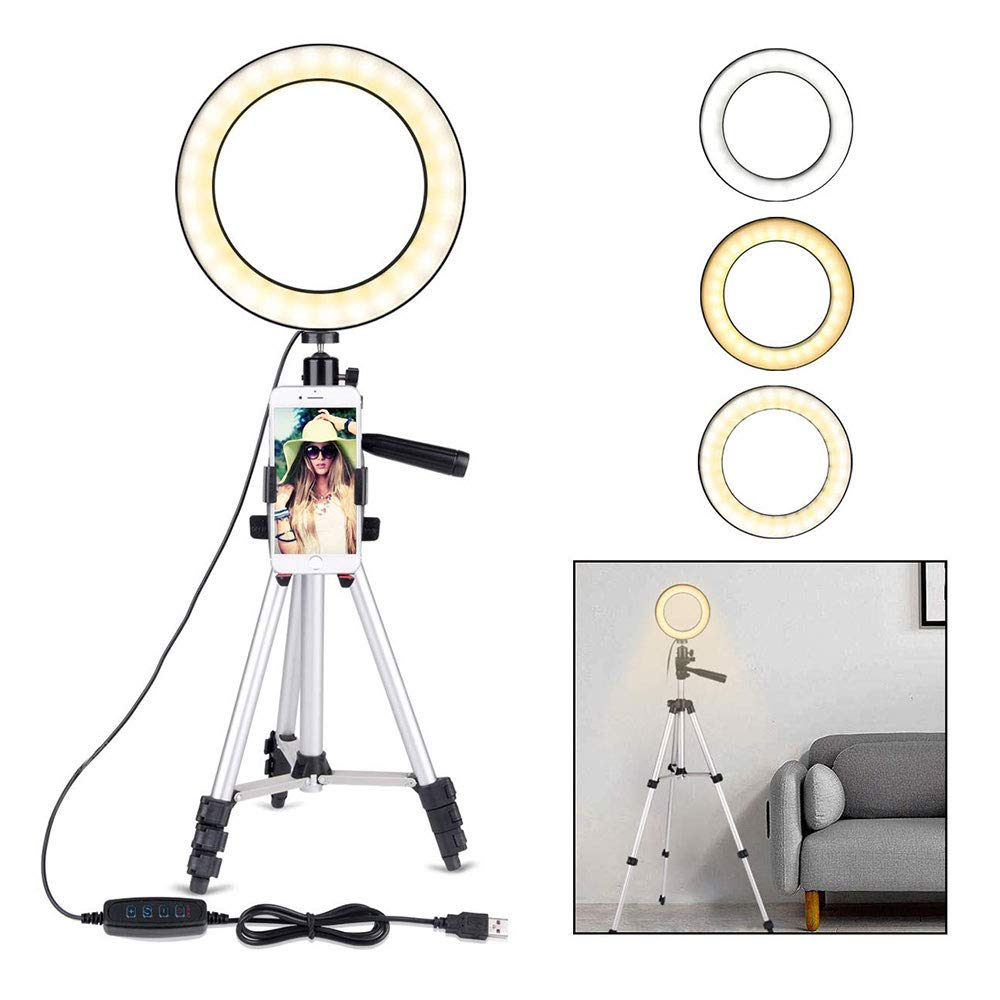 7.9-inch Led Fill Light Dimmable Ring Portable Ring Light with Tripod Silver