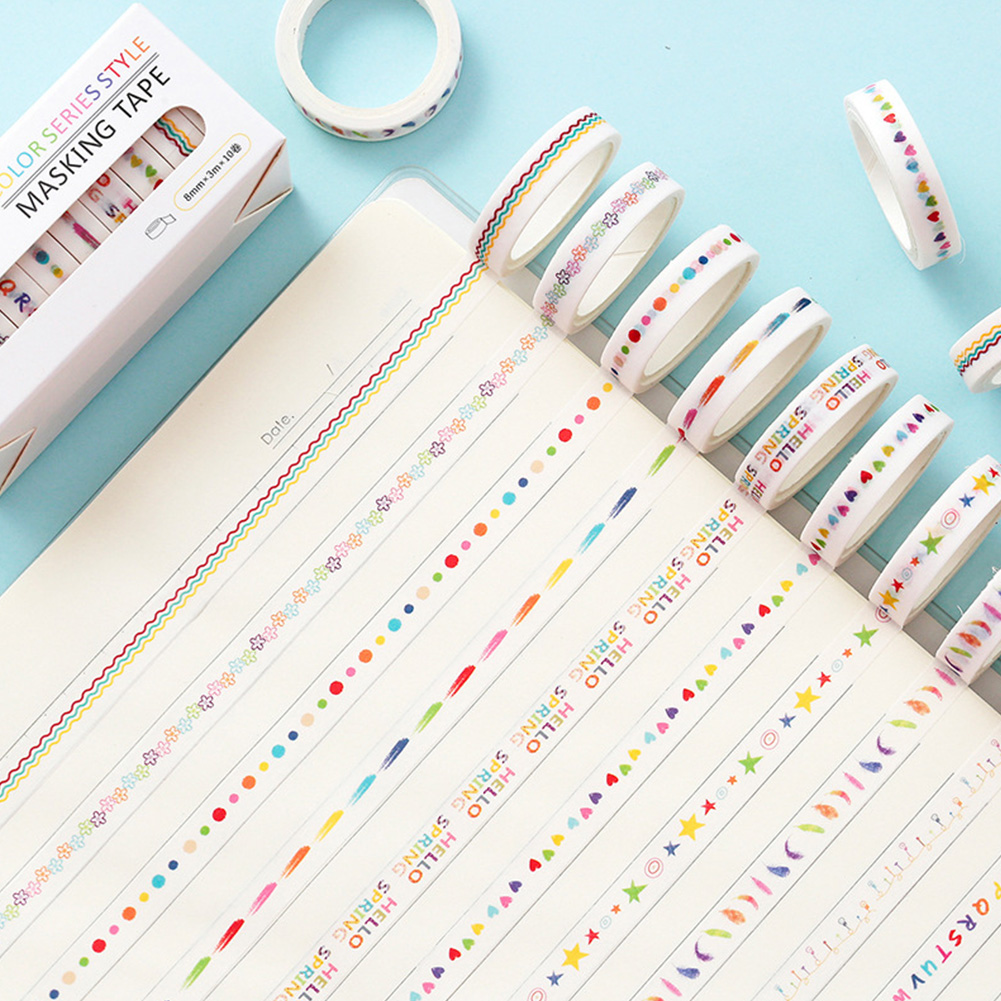 8MM DIY Sticker Type Dividing Line Diary Planner Scrapbook Sticker Label Masking Tape 1#