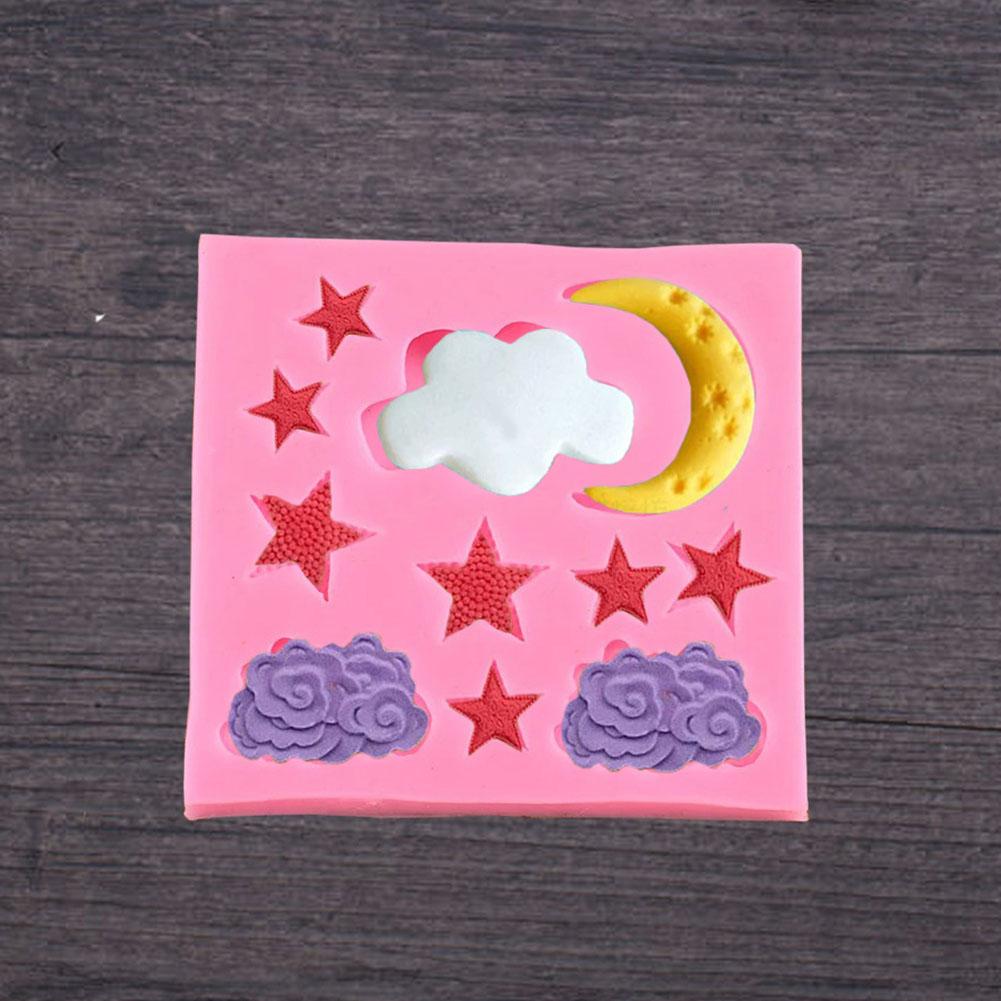 Cloud Star Moon Silicone Mold DIY Fondant Cake Chocolate Baking Decorating Tool Random color