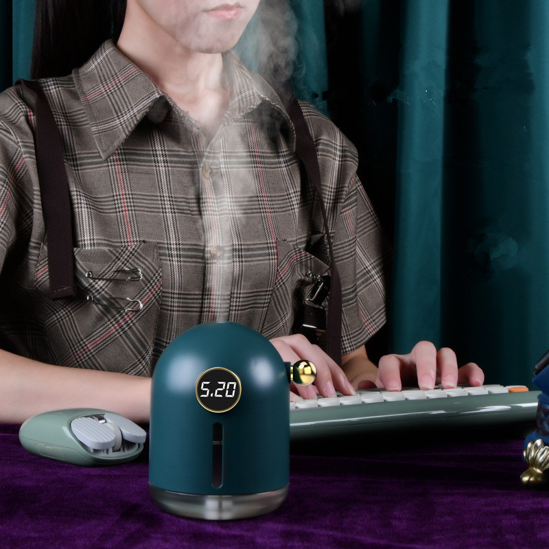 Retro Air Humidifier Mini USB Rechargeable Night Light for Home Office Dark green