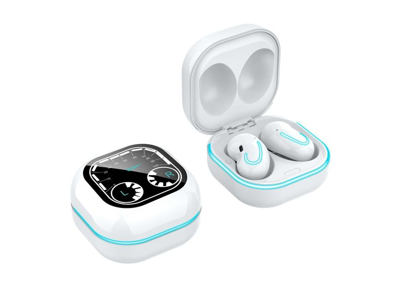 Bluetooth Earphones Breathing Light Timetable Display Tws 5.1 Wireless Mini Touch Control Bluetooth Headset white
