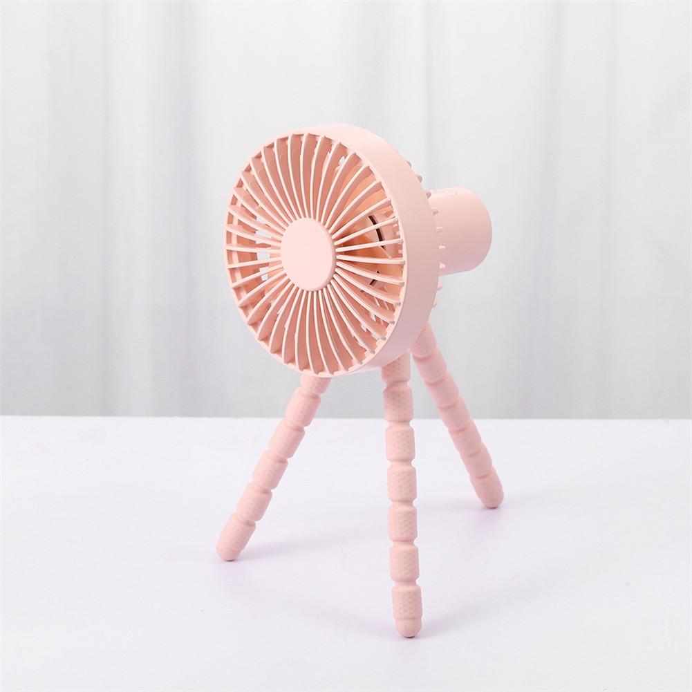 Mini Handheld Stroller Fan With Flexible Tripod For Children Office Room Car Traveling Bbq Gym Fan Pink_112x110x227mm