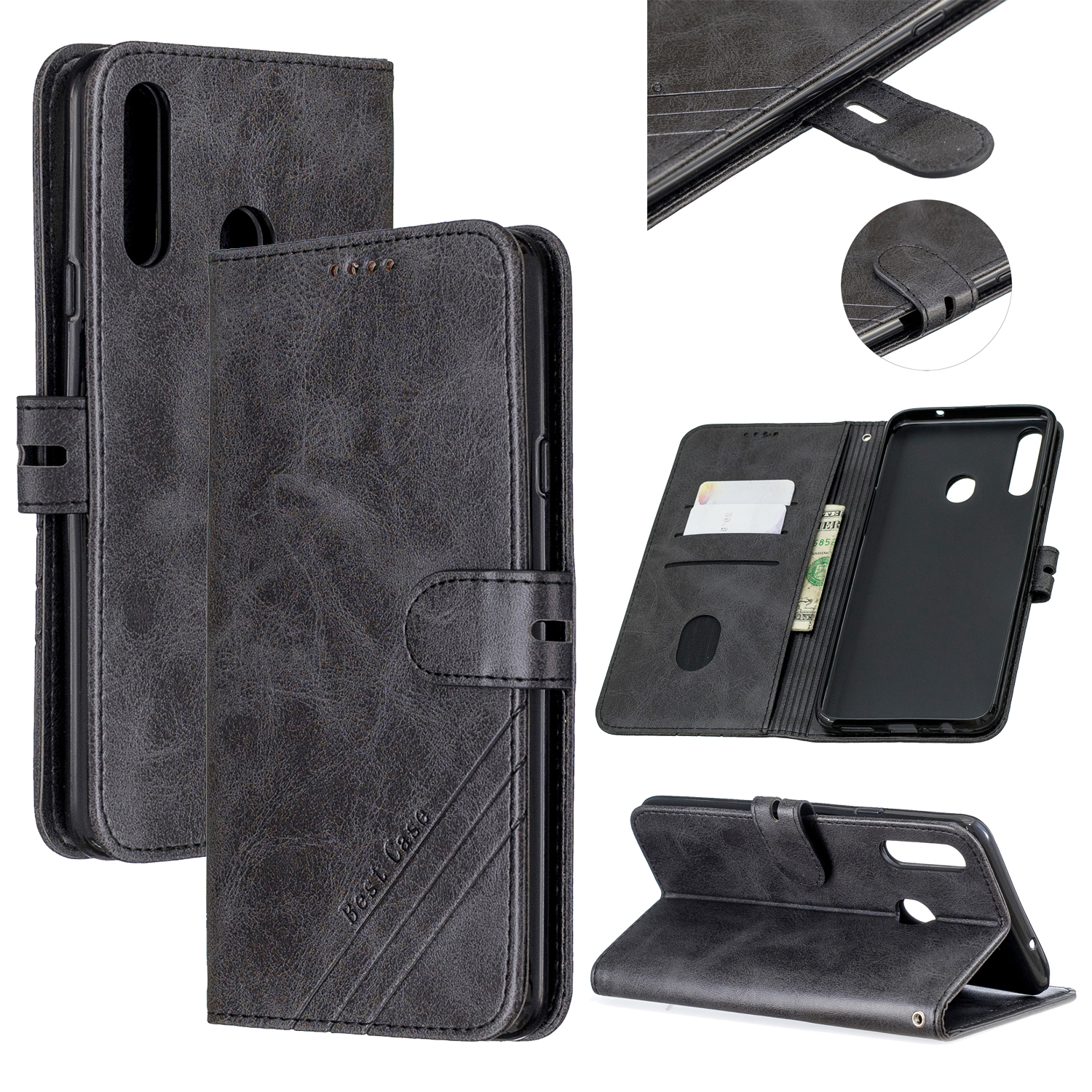 For Samsung A10S A20S Solid Color Denim Texture Front Clasp Bracket Leather Mobile Phone Cover black