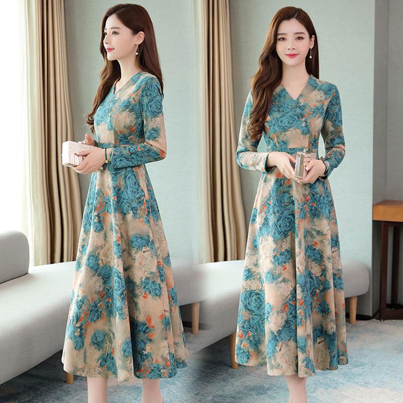 Women Autumn Winter Long Dress V- Neck Printing Floral Slim Waist Long Sleeve Dress blue_XL