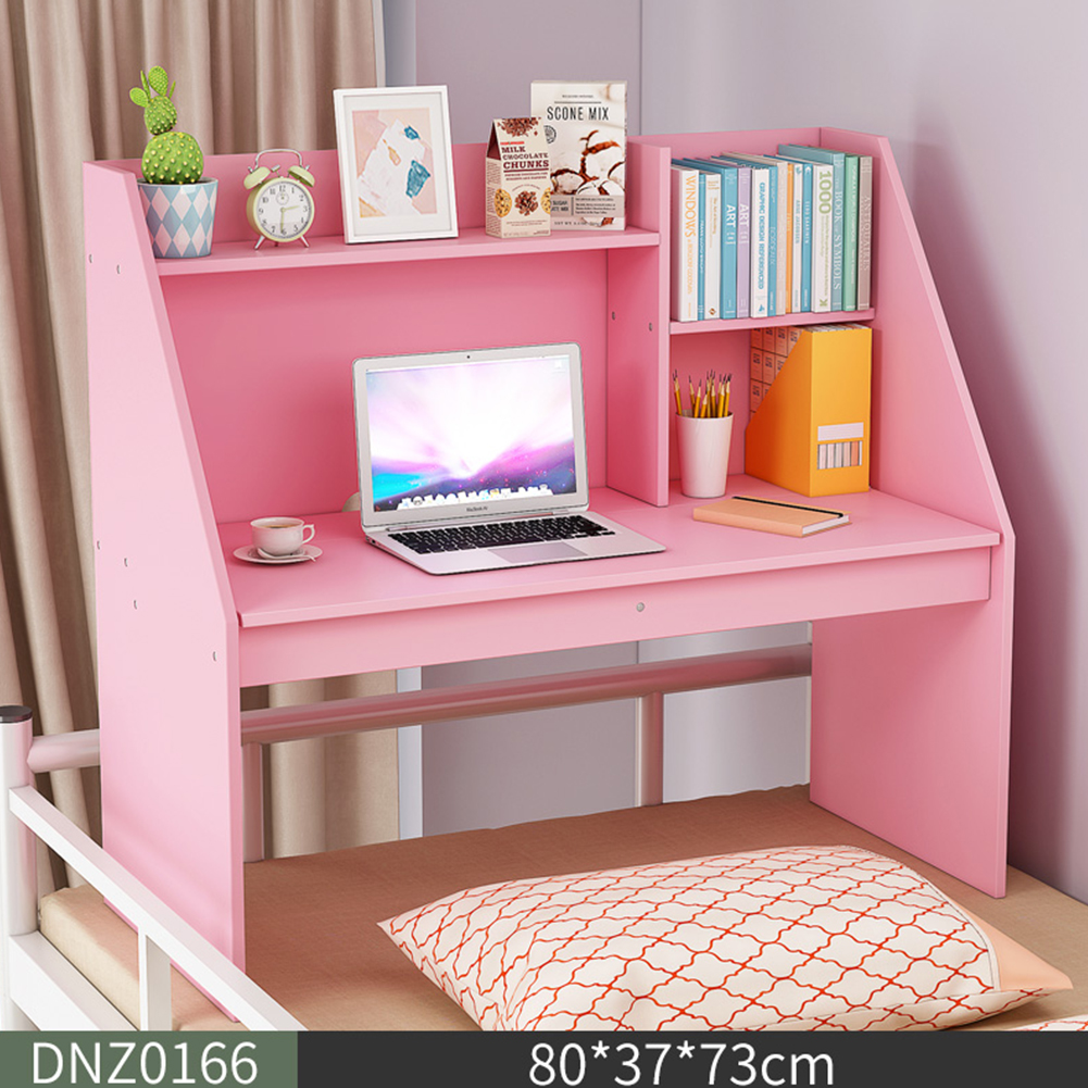 Wooden Computer Table Space Save Hidden Flip Storage Desk for Bed Study Pink