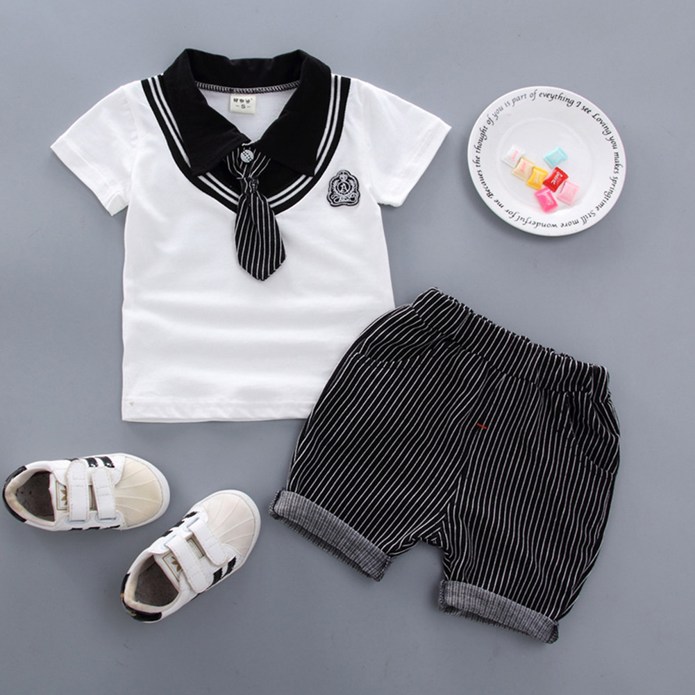 Kids Boys Stripe Printing Tie Short Sleeve T Shirt+Shorts Set BBE chicken collar white_110cm