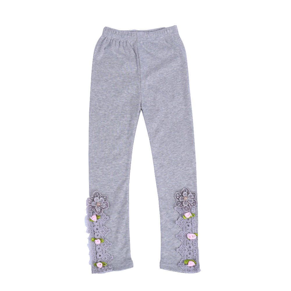 Baby Leggings For 3-9 Years Old Soft Girl Pants Cotton Lace Embroidery Cotton Leggings gray_130cm