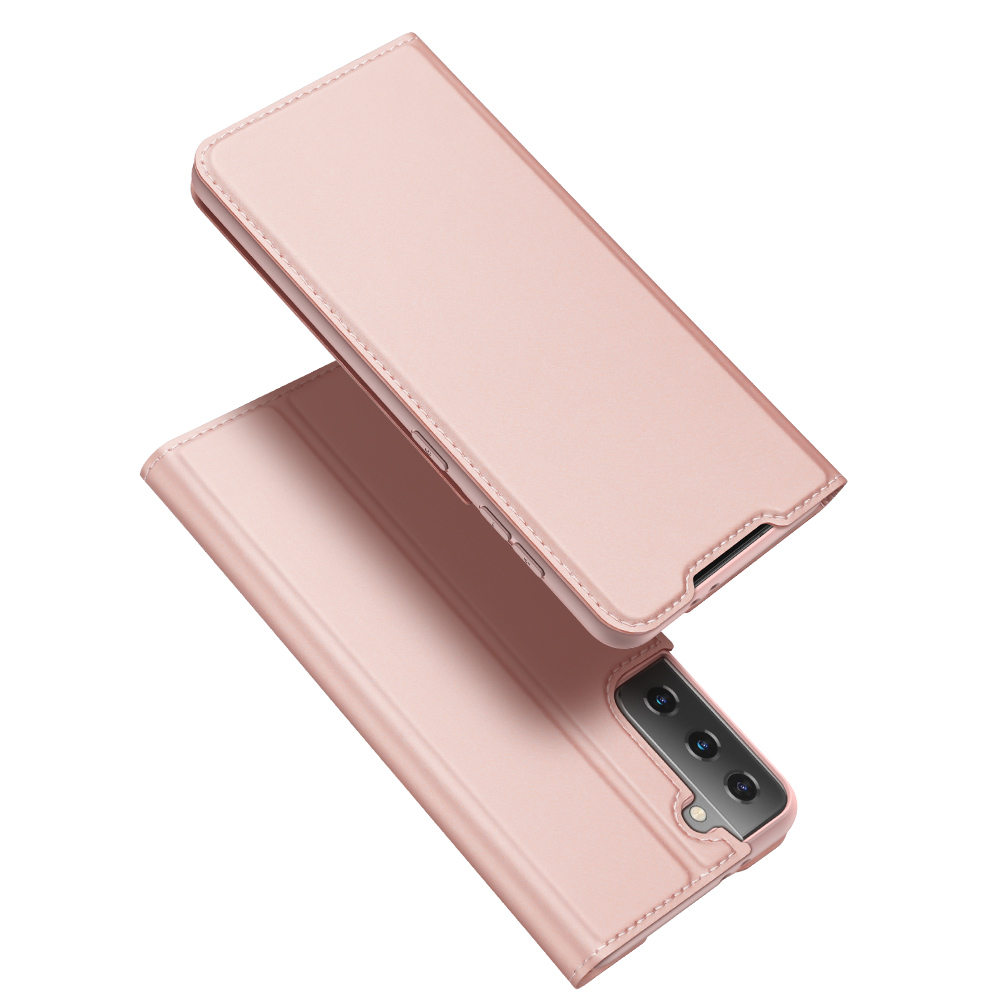 For Galaxy S21/s30 Pu Flip Covers Fall Resistant Card Slot Phone  Cover Protective  Case Rose gold