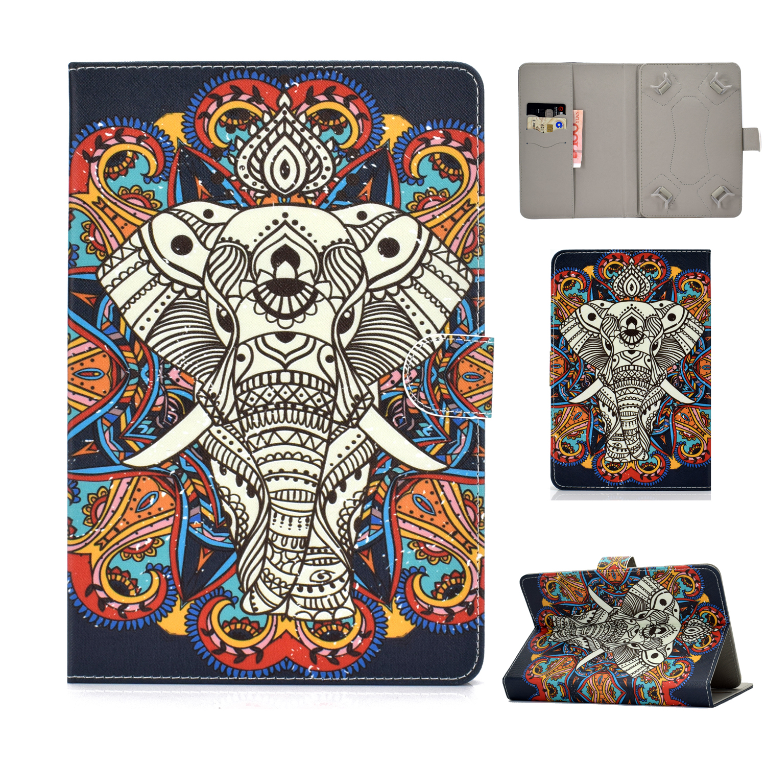 Universal 10Inches Laptop Protective Case with Front Snap Cute Cartoon Color Painted PU Cover  Fun elephant