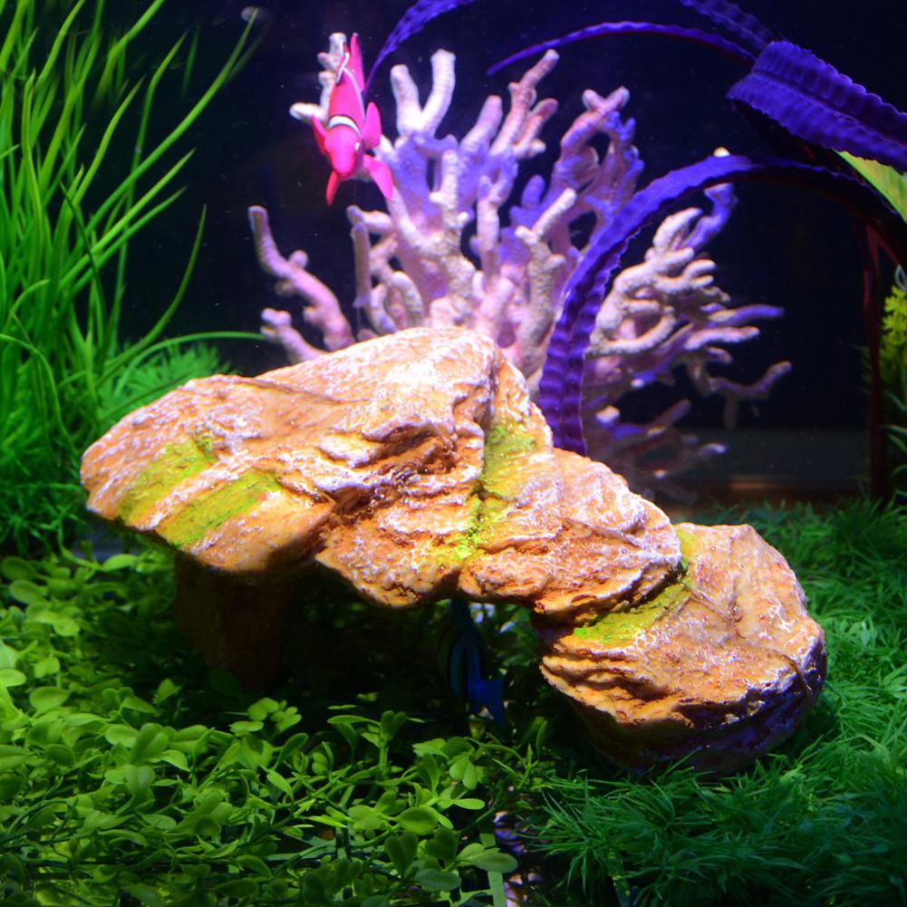Aquarium Resin Rockery Fish Cave Tortoise Bask Platform Landscape Rockery Decoration Yellow