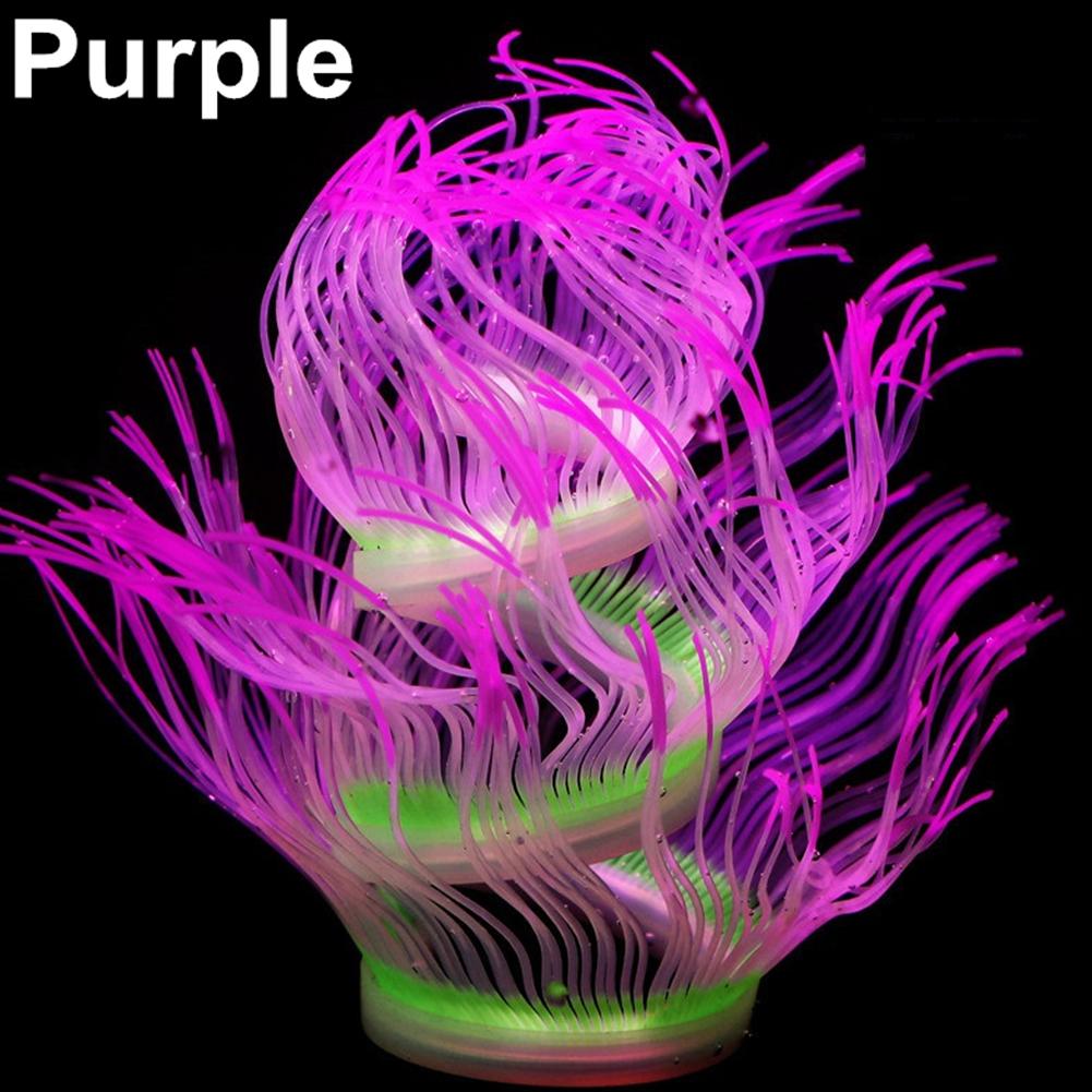 Silicone Artificial Sea Anemone Aquarium Coral Plant Decoration Fish Bowl Ornament 50CM_purple