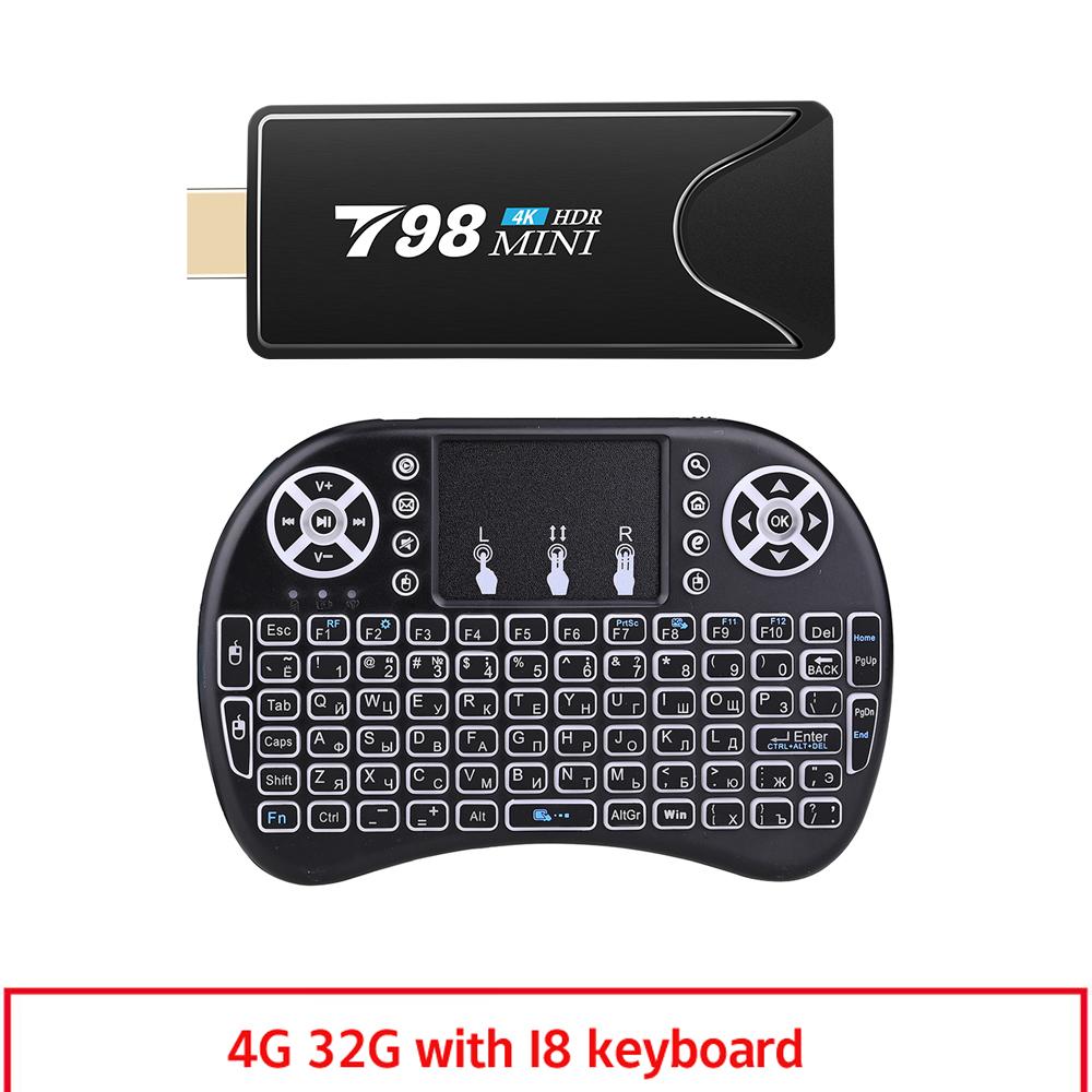 Mini Tv  Stick  Box Tv Android 10 4g 32g T98 Mini Tv Box Rk3318 Tv Box Smart Tv Box Media Player Tv Receiver 4+32G_US plug+I8 Keyboard
