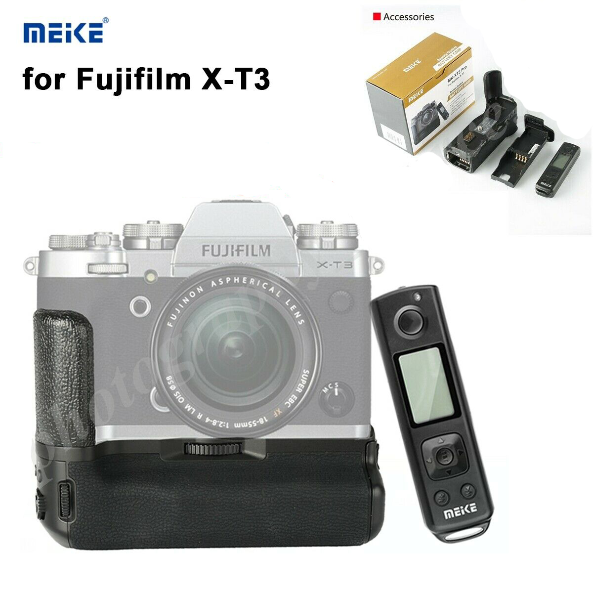 Meike MK-XT3 Pro Remote Control Battery Hand Grip for Fujifilm X-T3 black