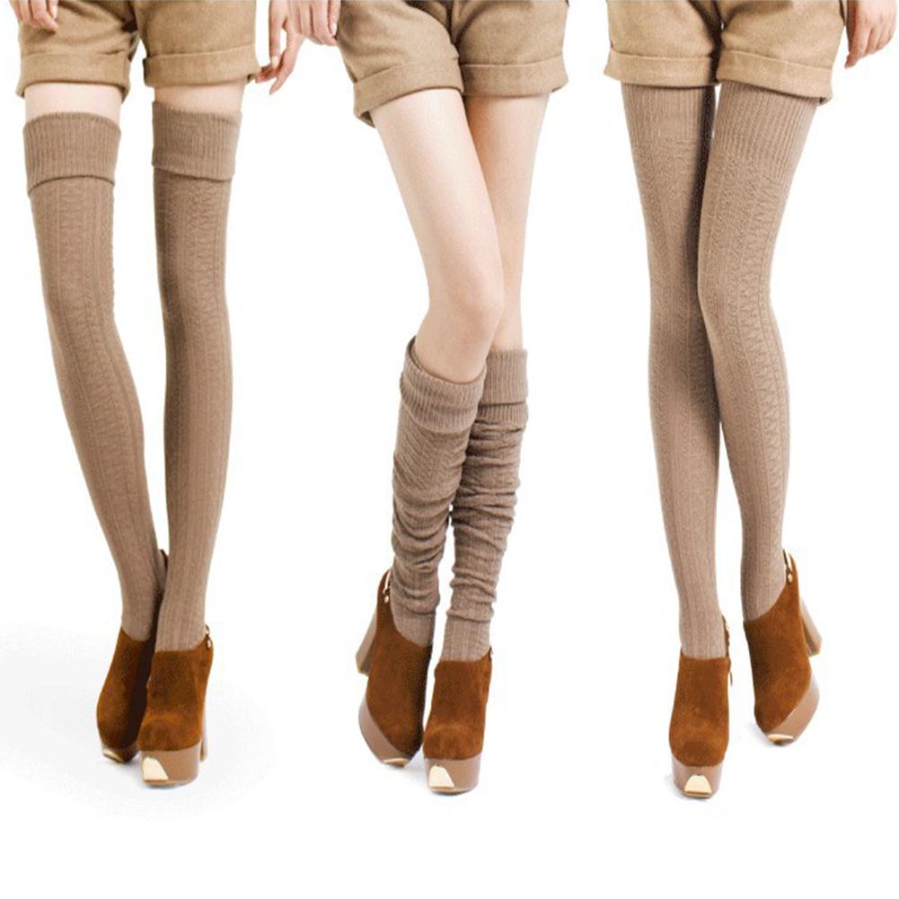Female Enlarged Boot Socks Soft Cotton Over Knee Stocking Khaki_One size / length 74 cm