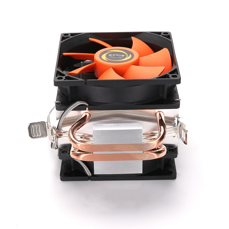 Double CPU Cooler Fan Double Copper Tube Strong Geat Dissipation Multiplatform Computer Host Radiator black