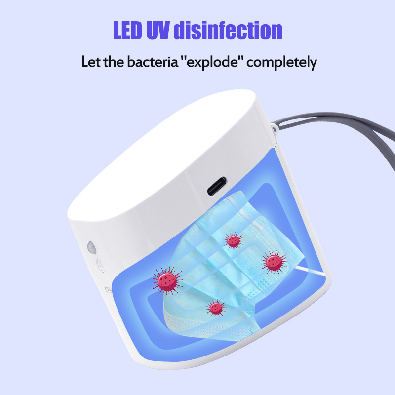 Plastic LED UV Disinfection Box Sterilization Case for Toothbrush Mask Jewelry Mobile Phone white