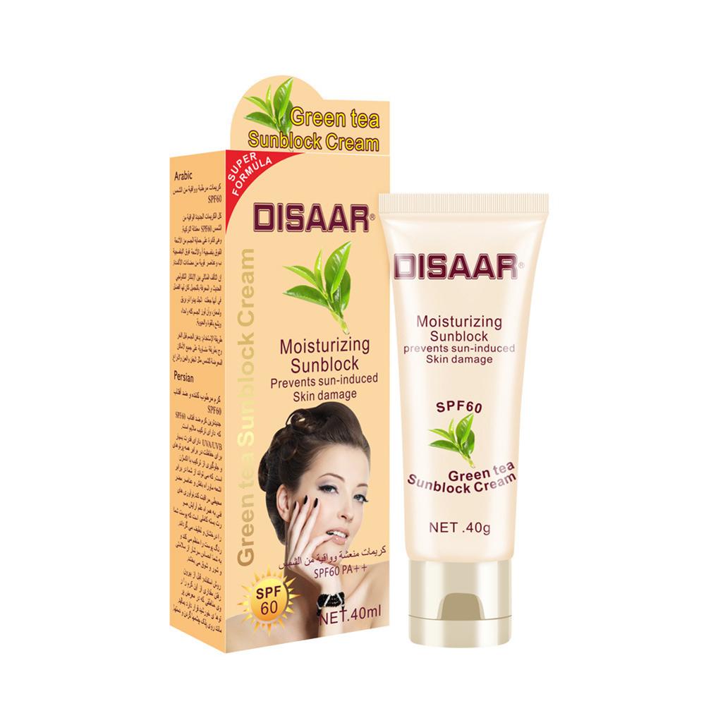 Sunscreen  Cream Moisturizing Isolation Sunscreen Cream Sweatproof Skin Care Cream 40ml green tea