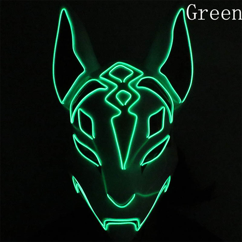 LED Cold Light Mask for Party Festive Christmas Halloween Costume Part Bar Dress Up  Standard mask green
