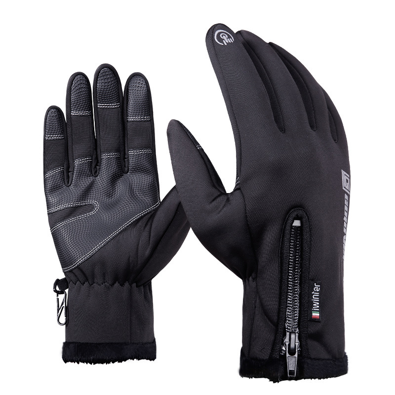 Men Women Winter Outdoor Gloves Black M