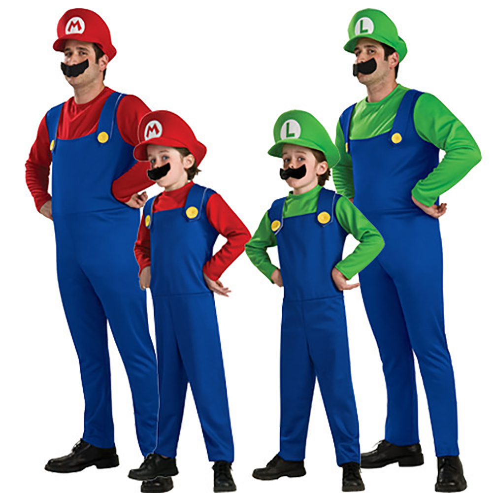 Super Mario Costume Halloween Costumes Cospaly Parent-child Role Play red_Adult S code