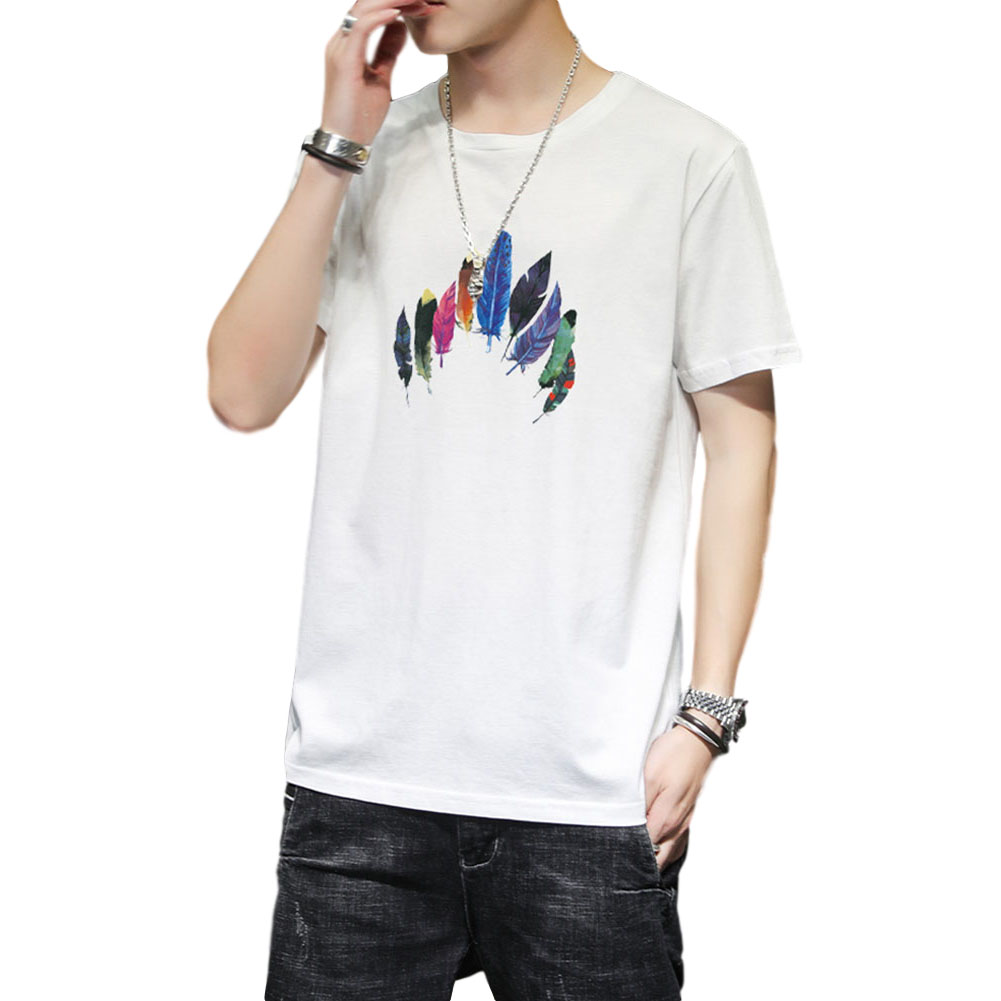 Men Women T Shirt Short Sleeve Summer Loose Feather Printing Couple Tops White_L