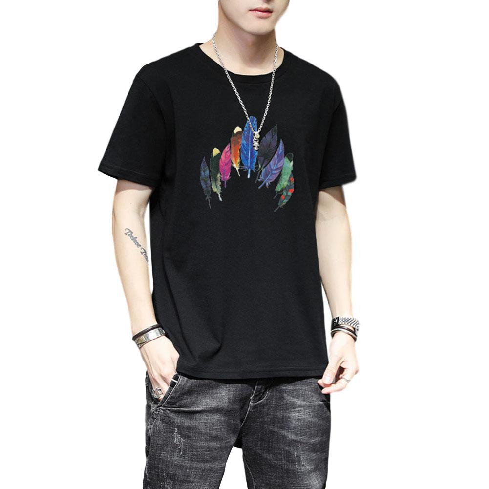 Men Women T Shirt Short Sleeve Summer Loose Feather Printing Couple Tops Black_XL